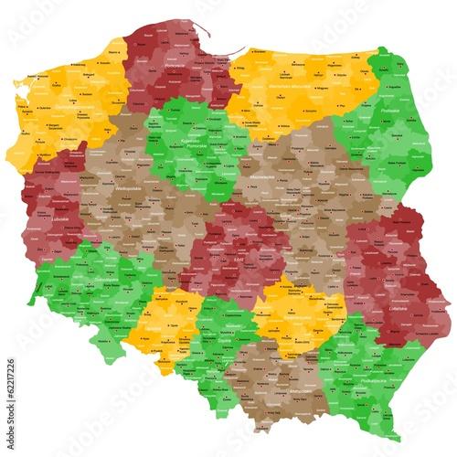 Fototapeta Polen Landkarte im Detail