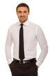 Portrait of young happy smiling business man, isolated