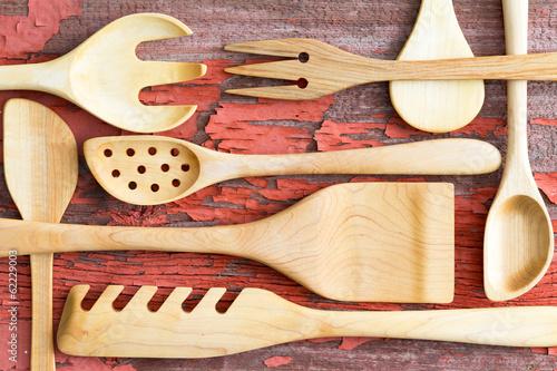 Obraz na plátně  Still life arrangement of wooden kitchen utensils