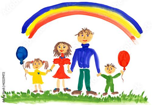 In de dag Regenboog happy family. watercolor drawing