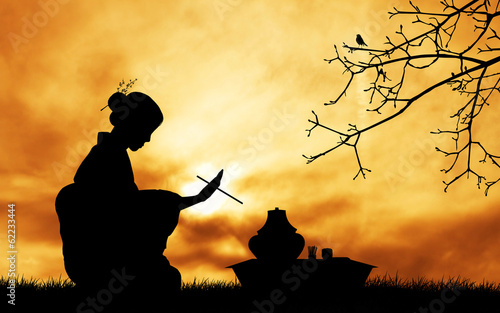 Tea ceremony at sunset - 62233444