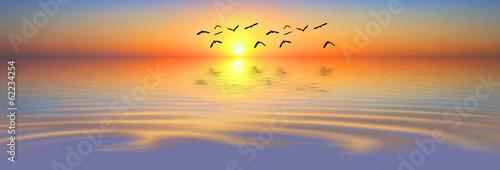 Fototapety, obrazy: paisaje panoramico del mar al amanecer