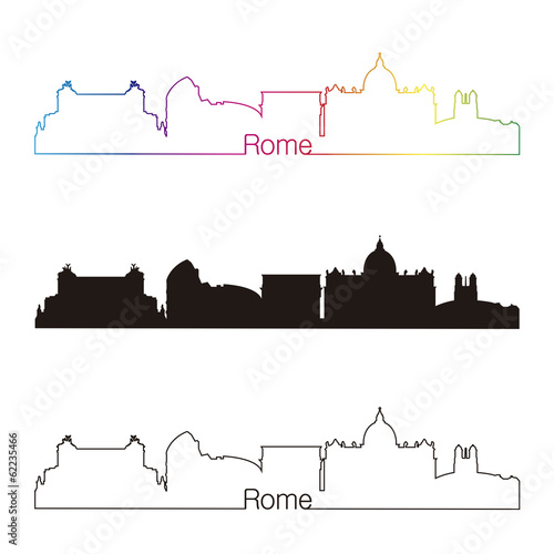 Rome skyline linear style with rainbow Wallpaper Mural