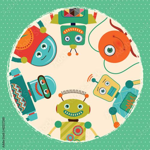 rocznik-retro-robot-karty-ilustracja-sztandar-tlo