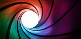 Fototapeta Perspektywa 3d - 3d rainbow colored abstract frame barrel tube