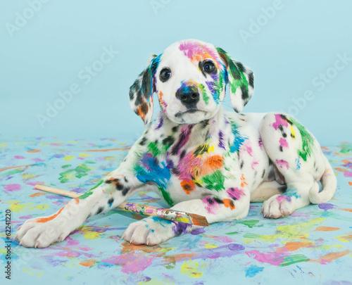 Deurstickers Franse bulldog Painted Puppy