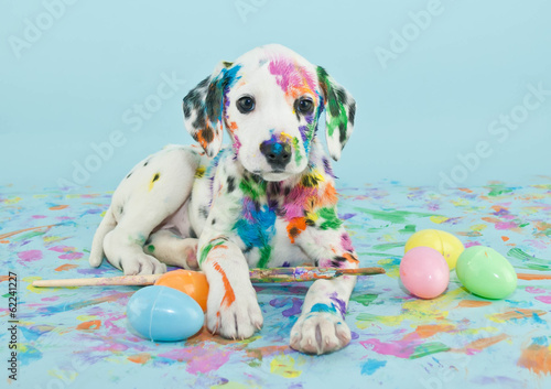 Easter Dalmatain Puppy Canvas Print