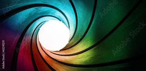 Fotografiet  3d colored abstract background focus concept