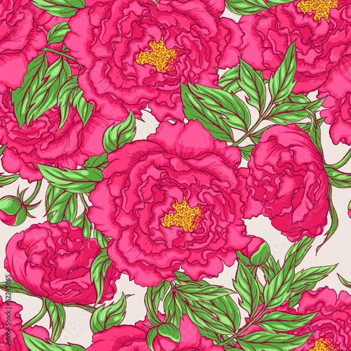 seamless pink peonies - 62243865