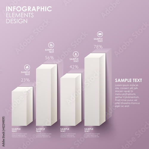 Fotomural abstract bar chart infographics