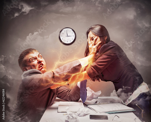 High stress fight in office Canvas Print
