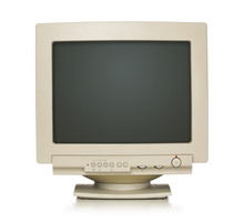 Close Up Of Old Computer Monitor Isolated On White With Path