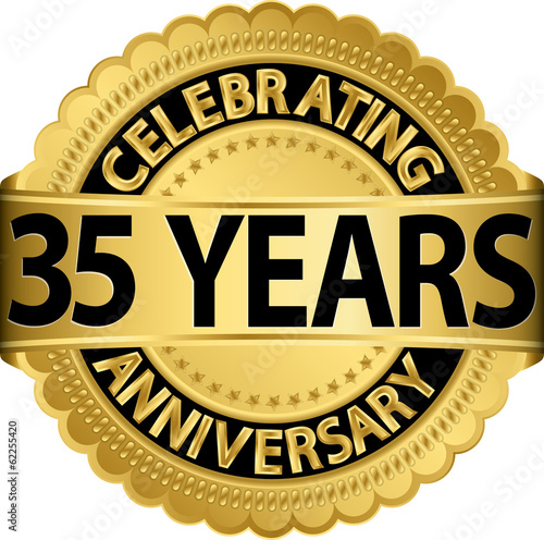 Celebrating 35 Years Anniversary Golden Label With Ribbon Vecto