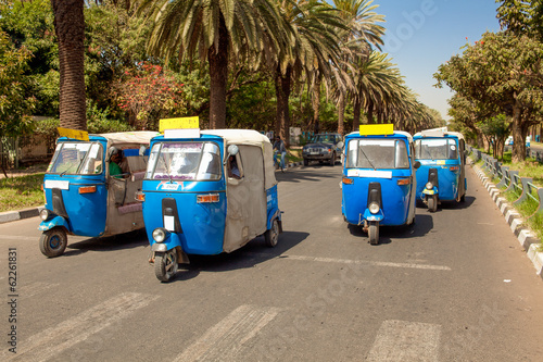 Auto rickshaw taxis at Bahir Dar in Ethiopia Fototapet