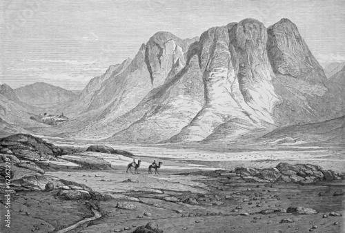 Fotografie, Obraz  Massif du Sinaï, couvent ste Catherine, gravure par Pottin 1864