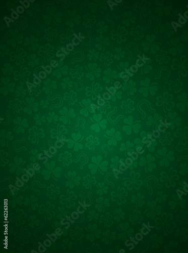 Stampa su Tela green background with shamrocks, vector illustration