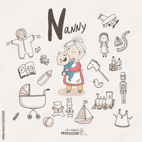 Cute Vector Alphabet Profession Letter N Nanny Buy This Stock