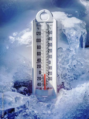 Fotografia, Obraz  Ice cold thermometer in snow