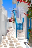 Beautiful white streets of Mykonos, Greece