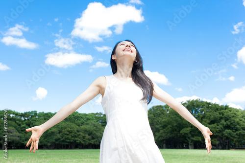 Fotografie, Obraz  深呼吸する女性