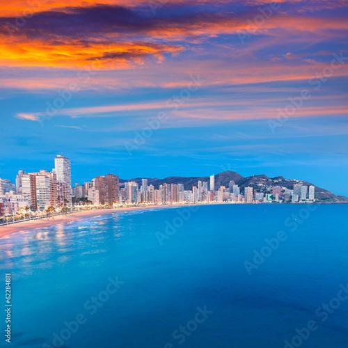 Keuken foto achterwand Lavendel Benidorm sunset Alicante playa de Levante beach sunset in spain