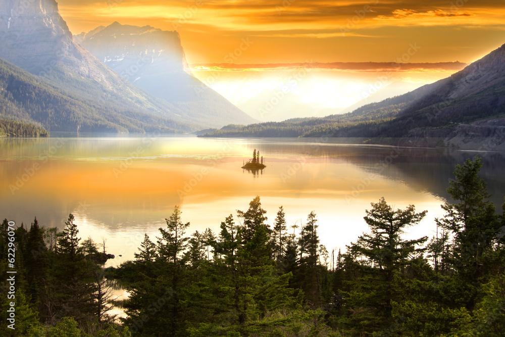 Fototapety, obrazy: Wild goose island in Glacier national park