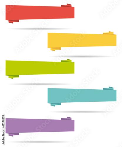 Flat design origami banners set. Canvas Print