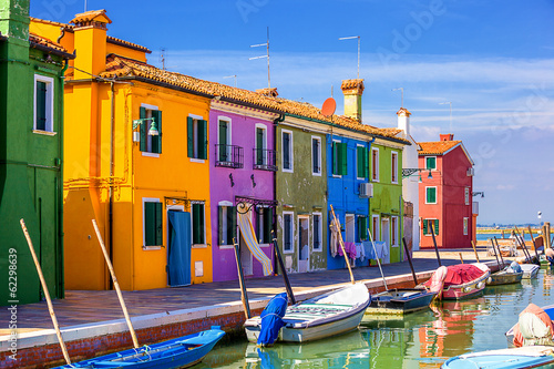 architecture of Burano island. Venice. Italy. Wallpaper Mural