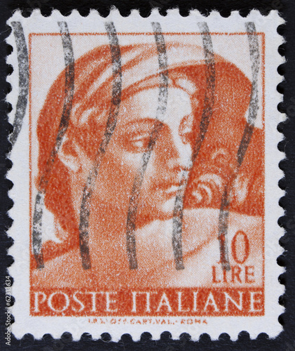 stamp printed in Italy from the Michelangelo Wallpaper Mural