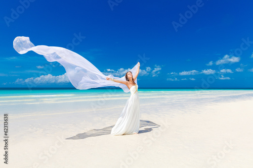 Fotografija  beautiful fiancee in white wedding dress and big long white trai