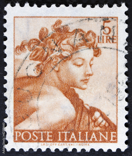 Photo stamp printed in Italy from the Michelangelo