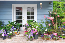 Exterior Wall With French Door Decorated With Flowers
