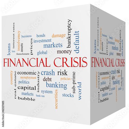 Photo  Financial Crisis 3D cube Word Cloud Concept