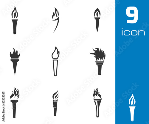 Fotomural Vector black torch icons set