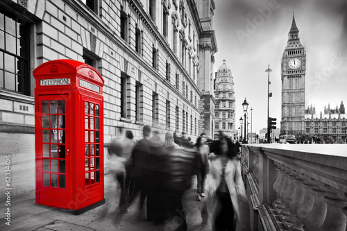 Red telephone booth and Big Ben in London, England, the UK. #62334696