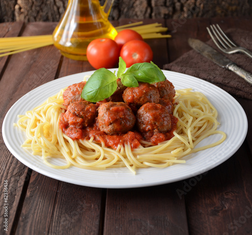 Fotografie, Obraz  Spaghetti and Meatballs