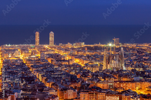 Foto op Canvas Barcelona Barcelona skyline panorama at night