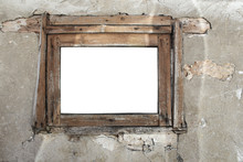 Rusty Old Wooden Window On A Cracked Wall Background