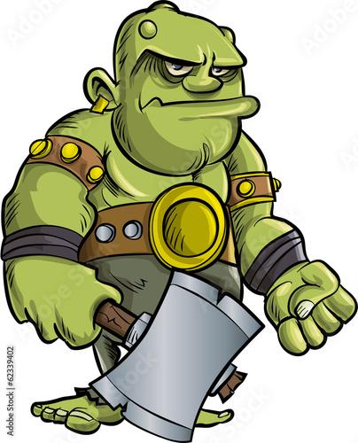 Fotografie, Obraz  Cartoon ogre with a big axe