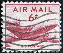 Stamp Shows Military Transport Aircraft Douglas C-54 DC-4