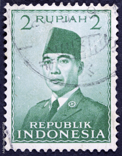 Fotografia  Stamp printed in Indonesia shows an image of Suharto