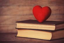 Heart Shape And Retro Book.