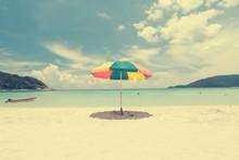 Vintage Retro Beach With Umbrella