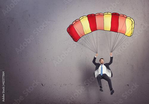 Carta da parati businessman with parachute
