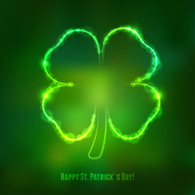 Irish Shamrock For St Patrick's Day On Dark Green Background