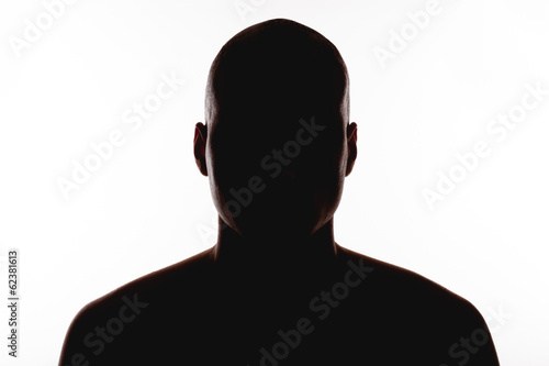 Fotografie, Tablou  silhouette of the man on a white background