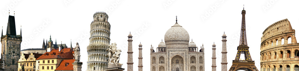 Fototapety, obrazy: travelling background with famous landmarks