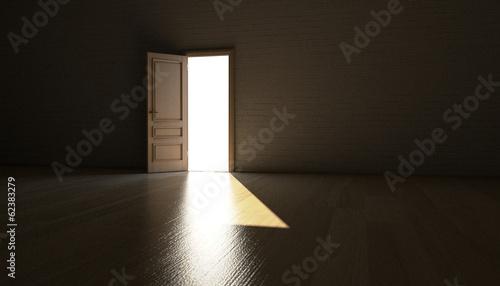 Photo Geöffnete Tür führt ins Licht