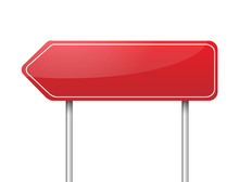 Blank Red Arrow Road Sign Vector