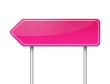 Blank Arrow Pink Road Sign Vector